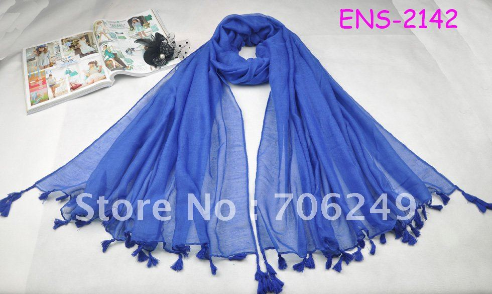 ,single scarf tassel,plain shawl,fashion ladies scarf,size 110*180cm,2012 new design,women's - ELLEN FASHION ACCESSORIES store