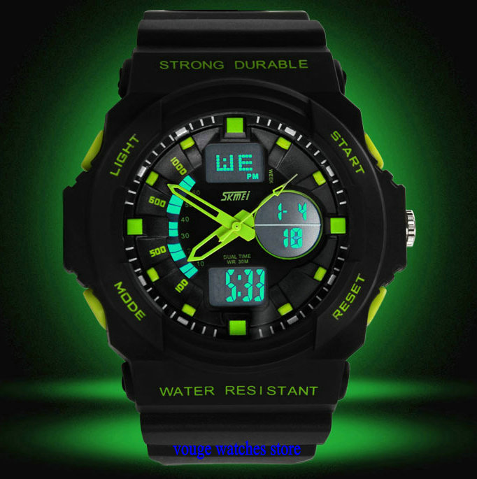 new men military watch sports watches dual time digital quartz EL backlight jelly rubber swim dive watch(China (Mainland))