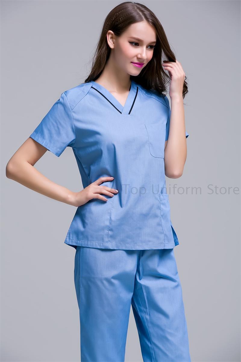New color women hospital medical uniform scrub dental clinic beauty salon working uniform short sleeved(China (Mainland))