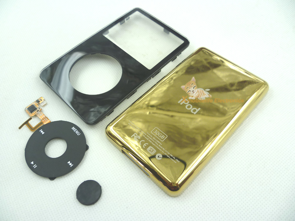 Black Front Faceplate Gold Golden Back Rear Housing Case Cover Clickwheel Central Button for iPod 5th Gen Video 30GB(China (Mainland))