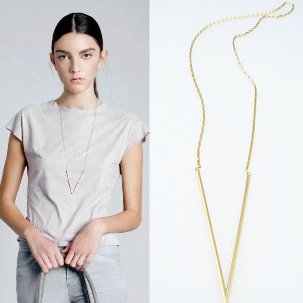 TX245 Simple Fashion Gold Plated Triangle Long Chain Necklace Women Jewelry - good jewelry store