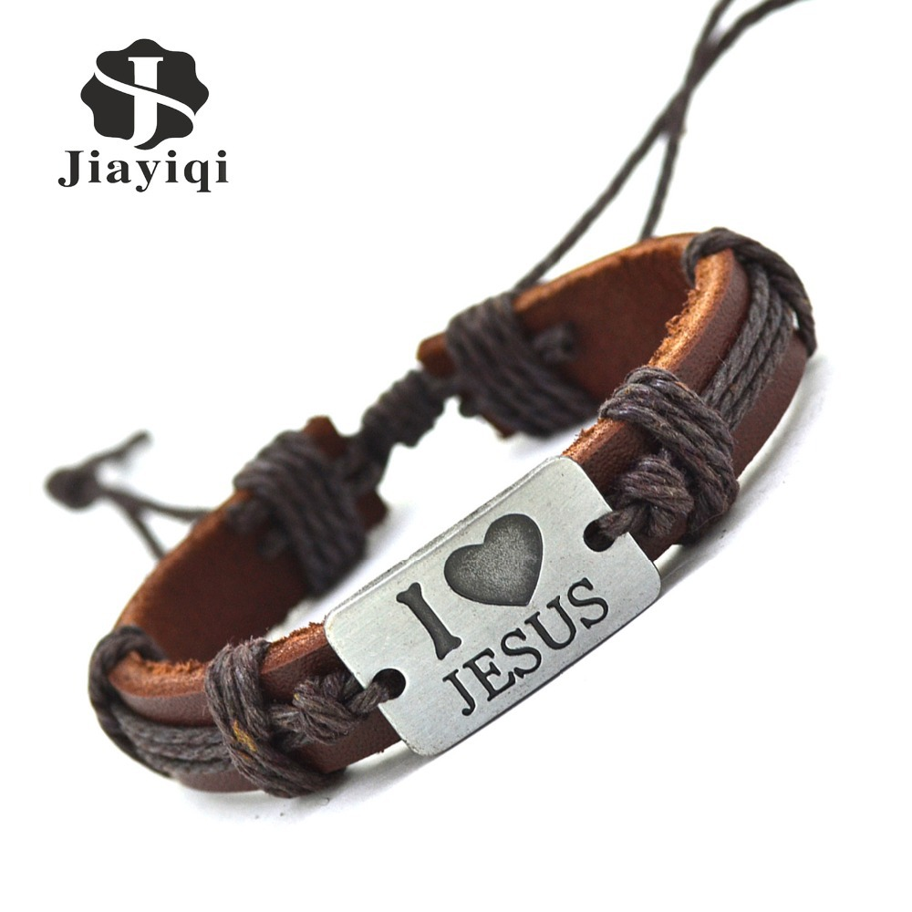 New Fashion Vintage Genuine Leather Bracelets Bangles I Love Jesus Rope Bracelet for Women Men Jewelry