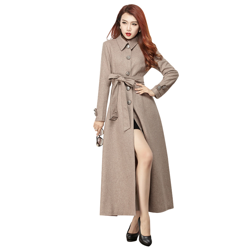 Plus Size Maxi Woolen Coats For Women 2016 Autumn New Ladies' Elegant Single Breasted Slim X-Long Wool Coat 2894(China (Mainland))