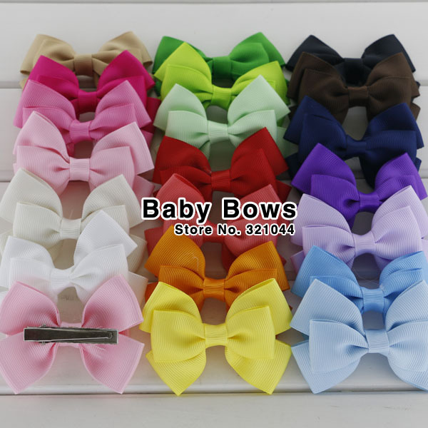 100pcs 3'' Baby Ribbon Hair Bows WITH Alligator Clip,Girls' Hairbows barrettes Hair Clip baby bows Accessories Free Shipping(China (Mainland))