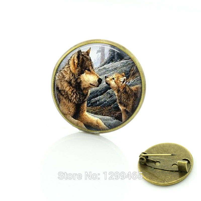 Black Glass cabochon dome pin Dress Accessories Animal jewelry Vintage Wolf Brooches pins jewelry Christmas gift C179(China (Mainland))