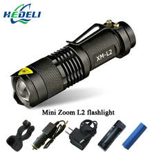 Mini Zoom cree xml l2 Flashlight Led Torch 5 mode 3800 Lumens waterproof 18650 Rechargeable battery Tactical flash light(China (Mainland))