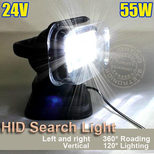 24V 55W HID Search work Light wireless Remote Control H1 Xenon Bulb Offroad Light 6000K for jeep SUV ATV truck
