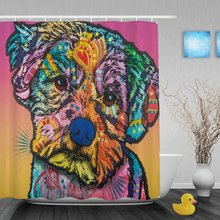 Lovely Pet Dog Maltese Shower Curtains Colorful Art Animal Bathroom Shower Curtains Waterproof Home DecorShower Curtain For Bath(China)
