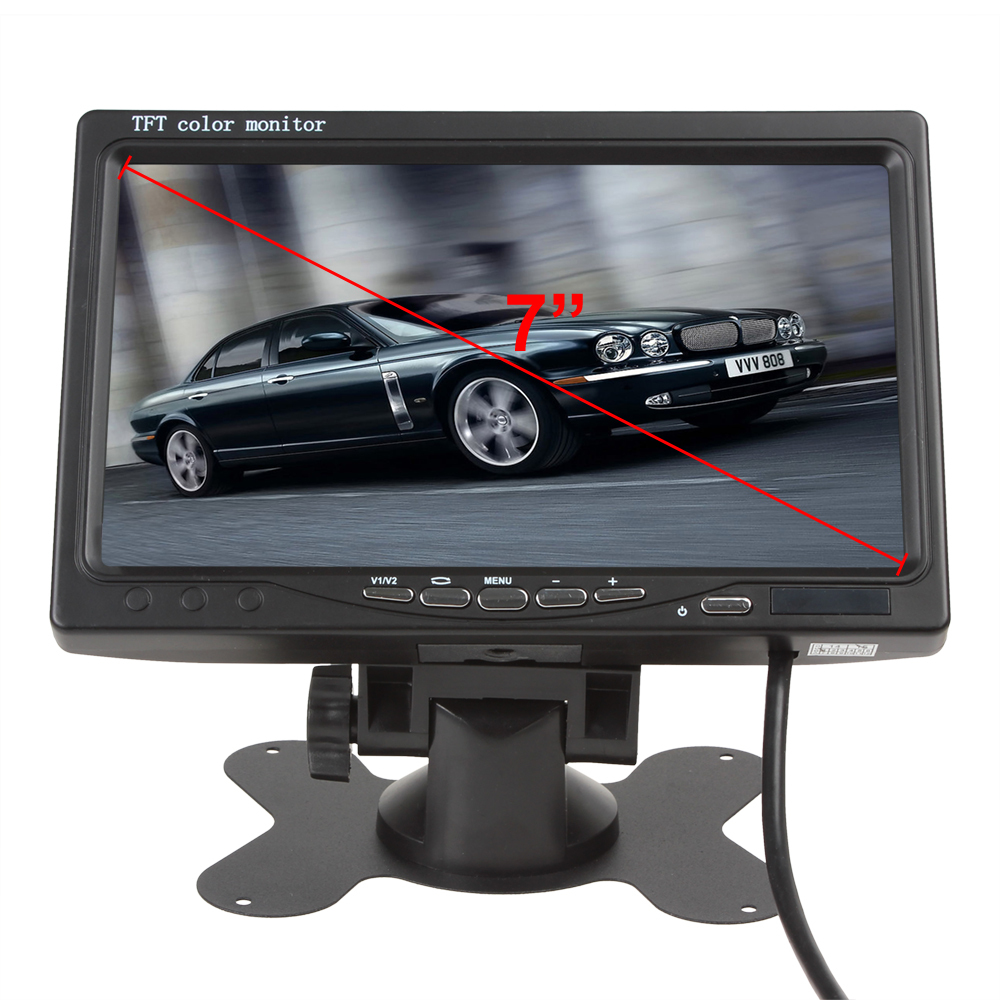 7 Inch TFT LCD Color 2 Video Input Car Rear View Headrest Monitor + 420 TV Lines 170 Degrees Lens Night Vision Camera(China (Mainland))