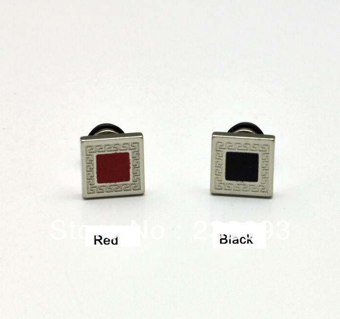 ,male fashion stud earrings,Square&Great wall pattern,black&red colors,3 sizes,men's cool earrings,Trendy accessory - Ryan's store
