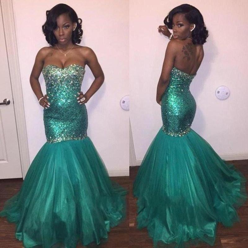 Мода роскошный зеленый русалка вечерние платья 2016 красивая милая кристалл блесток женщины Pagenat платье для ну вечеринку