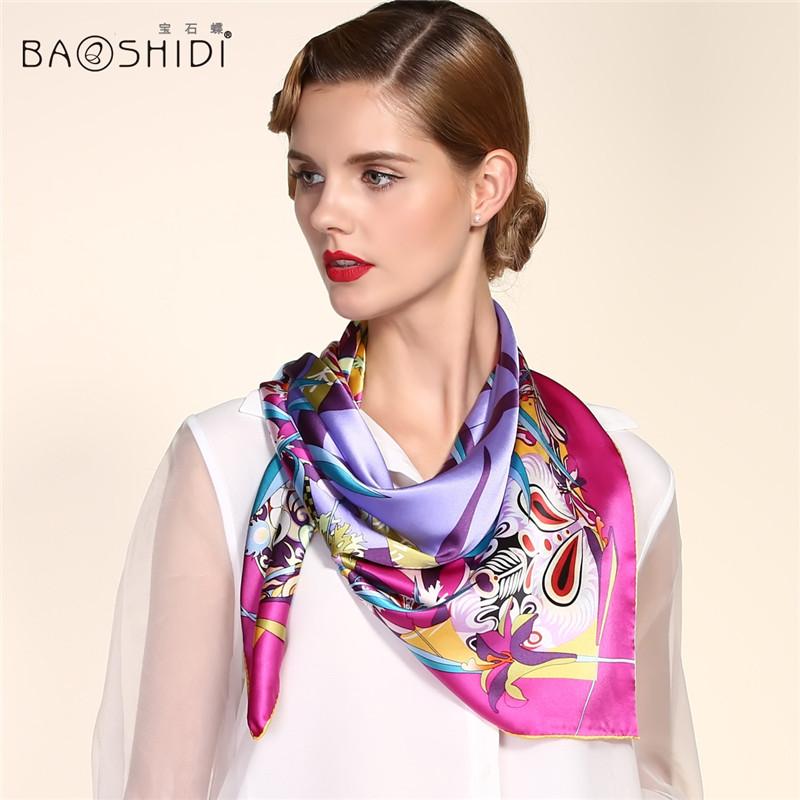 2016 New Arrival 100 Pure Silk 90*90 Large Square Scarf, BAOSHIDI Luxury Brand original design Elegant Lady present, all by hand(China (Mainland))
