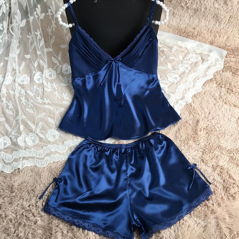 2016 FreeShipping sexy pijamas set Women Sleep set Deep V-neck Sexy Spaghetti Strap Shorts homewear pijama women pajama sets