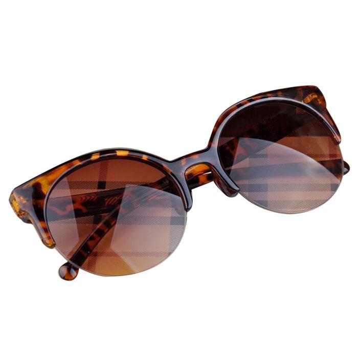 Brand New 2015 Fashion Vintage Sunglasses Retro Cat Eye Semi-Rim