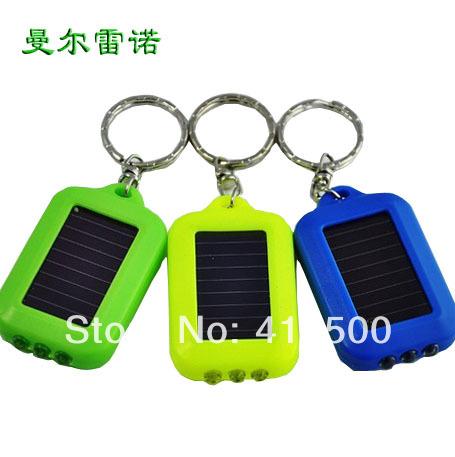 Mini solar key chain flashlight strong light flashlight led emergency charge type flash light(China (Mainland))