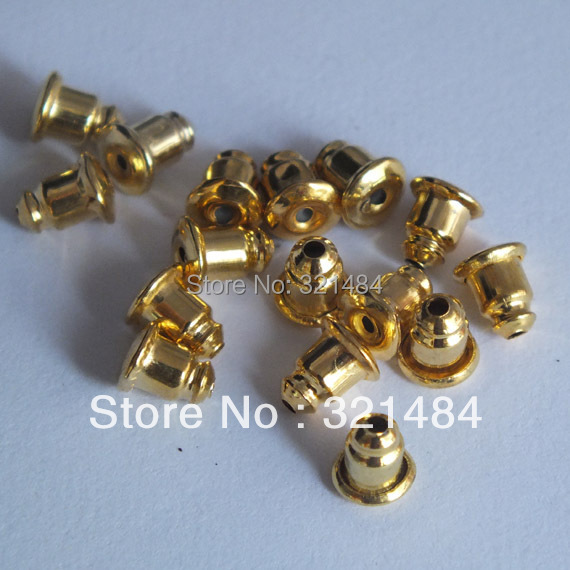 gold plated 5000piece/lot 5*6mm bullet earring backing stoppers findings for studs diy