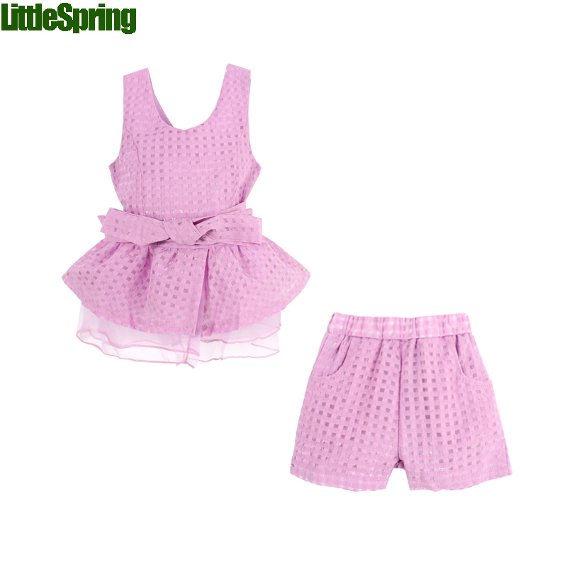 free shipping retail new 2016 girls clothes summer fashion children's vests set suit 2~7 years old children clothing for girl(China (Mainland))