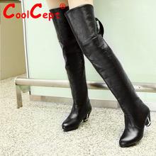 Mujeres del alto talón sobre la rodilla botas para mujer de invierno la nieve caliente botas masculina moda pasarela calzado zapatos P19787 tamaño 34-42(China (Mainland))