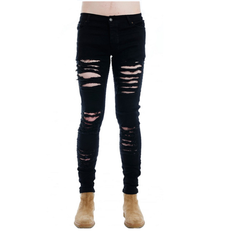 High Street Fashion Men's Middle-waisted Jeans Slim Hole Foreign Trade Demonstration Pants