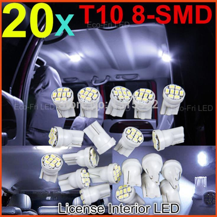 20x Cool White T10 Led 3020/ 1206 SMD 8SMD 8 led Bright LED LIGHT BULBS 194 2825 921 168 175 W5W Super bright Auto led Car light(China (Mainland))