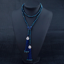 92cm Long Pearl Necklace With Lapis Lazuli Tassel Pendant Autumn Winter Season Coat Dyed Black Pearl Necklace Women Pearl Gifts(China (Mainland))