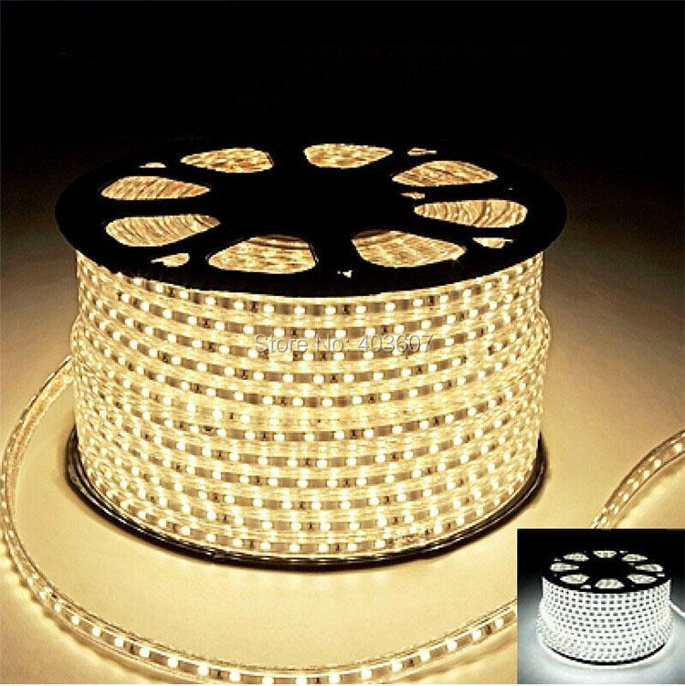 220V AC LED Strip Light 100M SMD 5730 60LED/M Waterproof IP67 LED Stripe White/Warm white/Blue100M/Roll High Brightness New(China (Mainland))