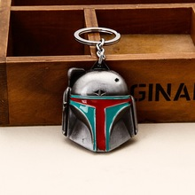 Hot Movie Star Wars Boba Fett Mask Metal Pendants Keychain for Men ring Key Chain Chaveiro 082