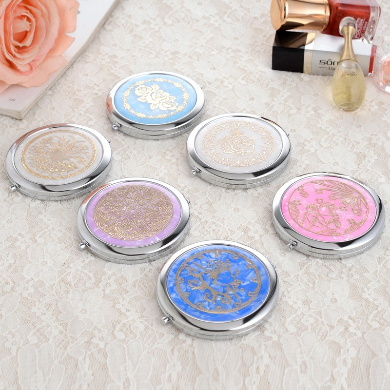 1pc Shell Printing stainless steel pocket mirror Two sided makeup mirror cosmetic compact mirror miroir de poche espelho(China (Mainland))