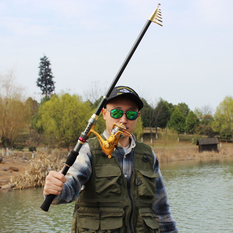 hot top quality carbon telescopic travel fishing rod with spinning, Fishing Rod
