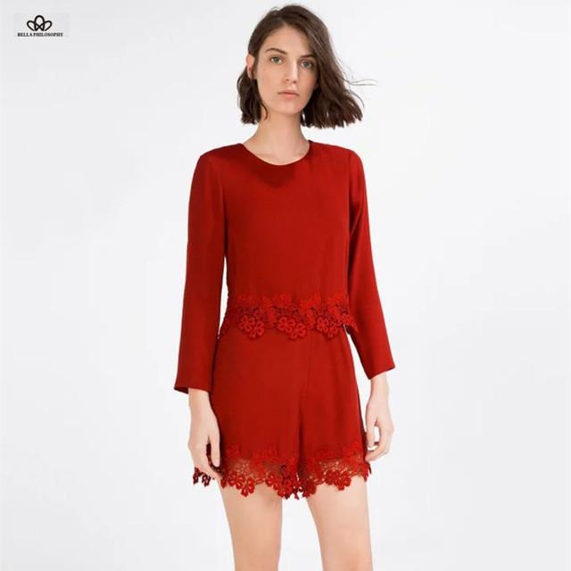 2016 весной и летом новая мода Европейских и Американских красный длинный рукав кружева ...