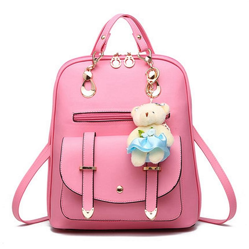 PU Leather Backpacks Teenage Girl Preppy Style Back Bag Travel Rucksack Teddy Bear Doll Schoolbag mochila mujer L381 - SEAC Fashion Store store