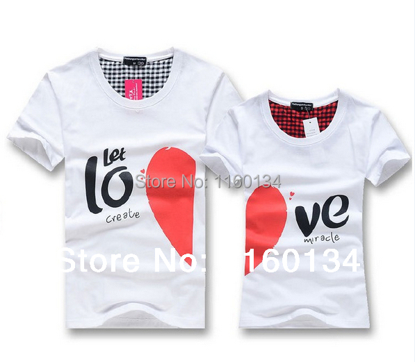 Lovers T Shirt For Couples And Lovers Clothes Lovers tshirt Summer Shirt Men & Women Heart Love T-shirts Shape Shirt Clothes(China (Mainland))