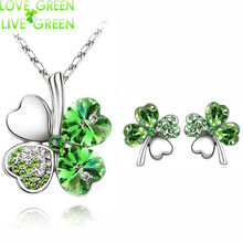 2017 Austrian Crystal rhinestones Clover 4 four Leaf White Gold Plate green crystsal Necklace Earrings Jewelry Sets 9554(China (Mainland))