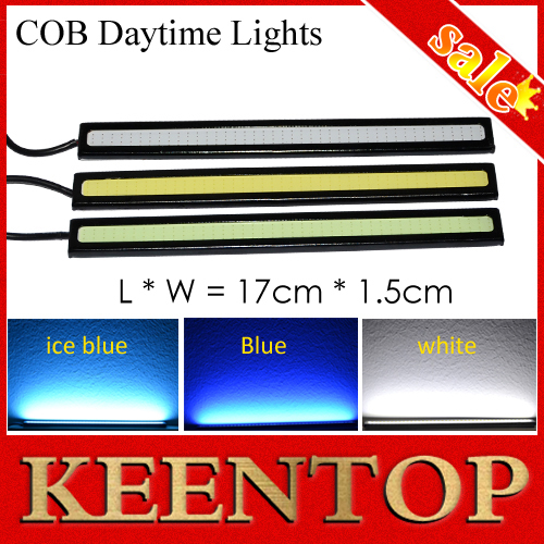 17CM DC12V Daytime Running Light 20W COB Car LED External Light DRL Waterproof Bumper Decorative Sticker LED Daylight Black 2Pcs()