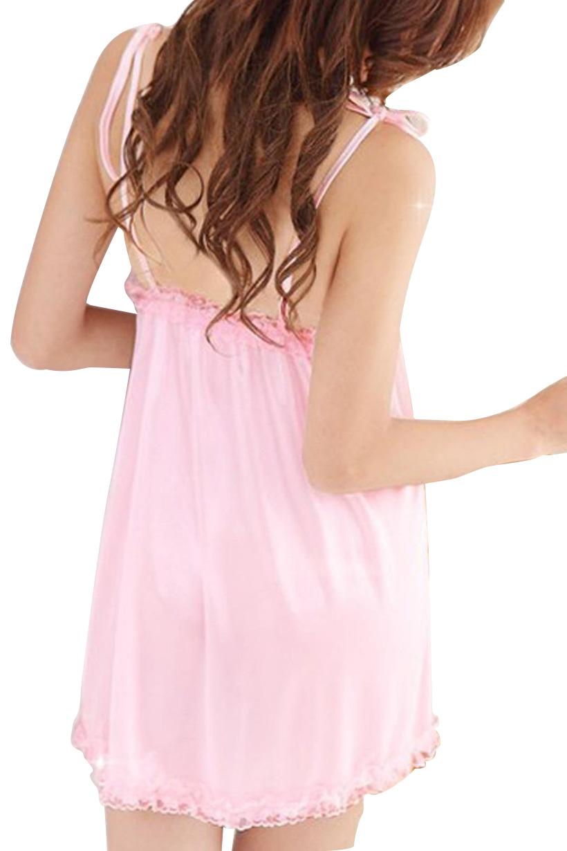 Pink Women Gown Lingerie Night Robe Top pajamas set Low Cut Lingerie Sleepwear