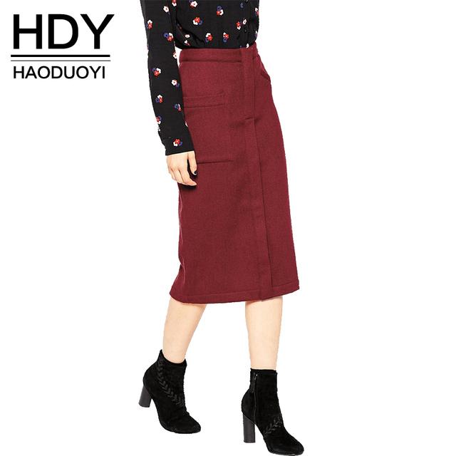 HDY Haoduoyi 2016 Осень Женщины Мода Твердые Красное вино с Высокой Талией Тонкий Midi Юбка Коммутирующих Двойные Карманы Случайные Юбки