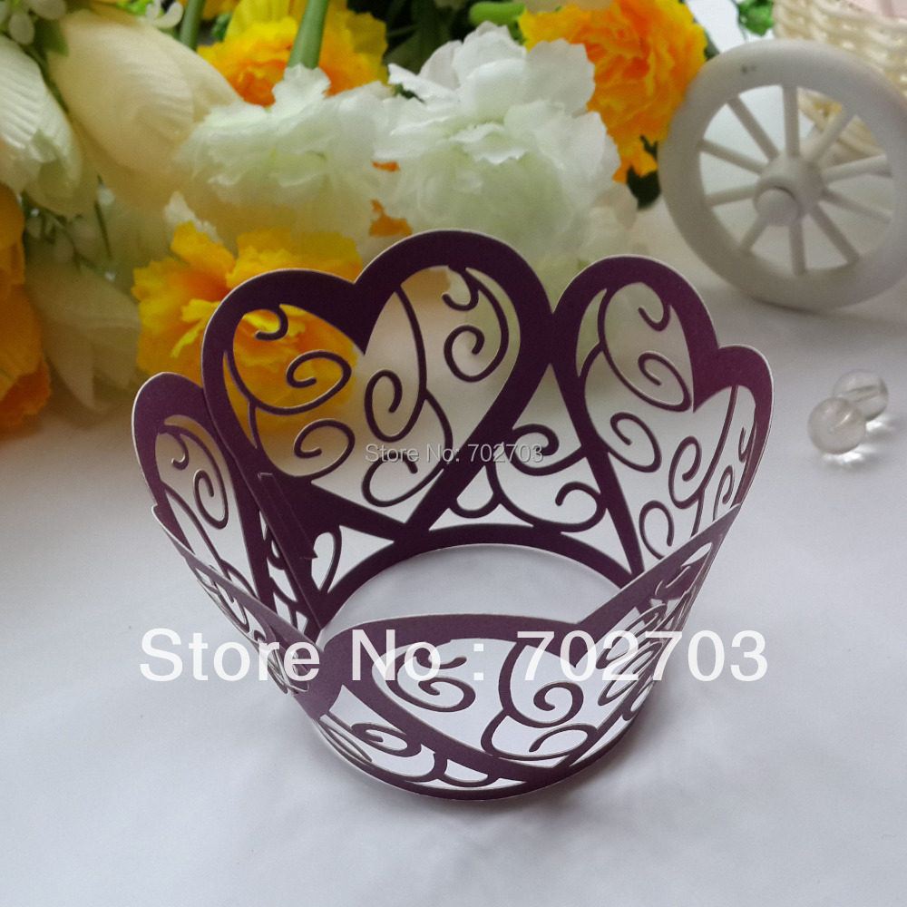 Free Shipping 60pcs/lot wedding Celebration Supplies Purple heart shape laser cut pearl paper cupcake collar cupcake wrapper(China (Mainland))
