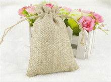 200 pcs 20*30cm Handmade Burlap Jute Drawstring Jewelry Packaging Bags for Christmas Gift Candy Storage Wedding Decor Soap