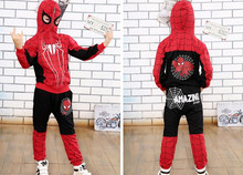 DT0267 New Spider Man Children Clothing Sets Boys Spiderman Cosplay Sport Suit Kids Sets jacket + pants 2pcs. Boys Clothes(China (Mainland))