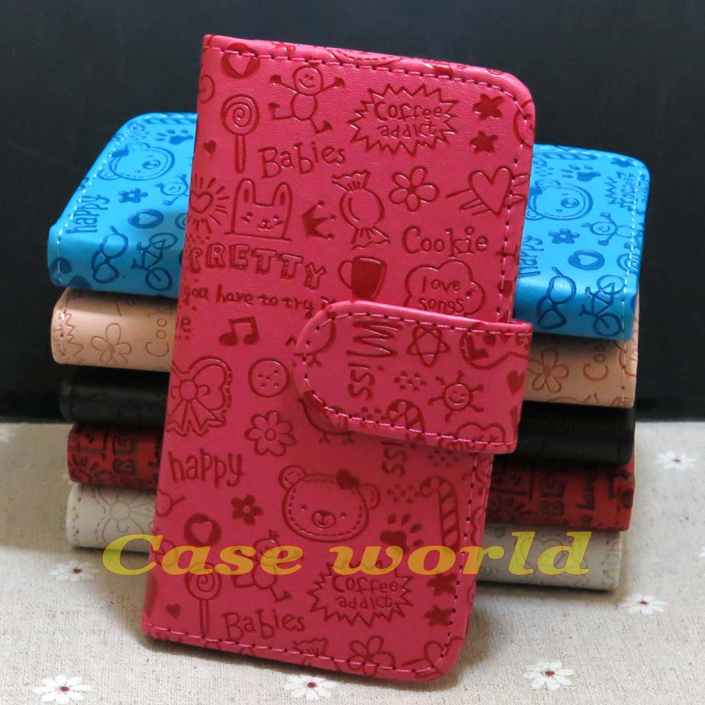 1 Pcs New Fashion Cute Lucky Girl Loves Flip PU Leather Case For iphone 3G 3GS(China (Mainland))