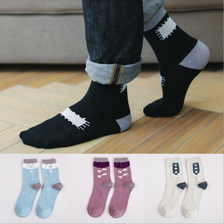 new design high quality combed cotton autumn winter creative stars birds pattern casual fashion happy brand men harajuku socks(China (Mainland))