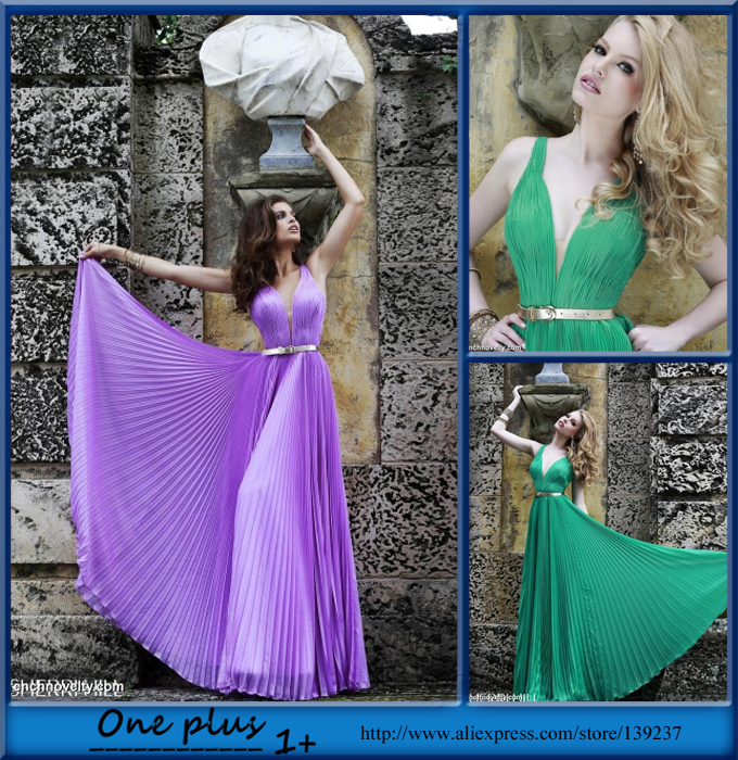 2015 Elegant Long Evening Dress Green Pleat Sashes Beaded Spaghetti Strap V Neck Backless Dresses Prom Gown
