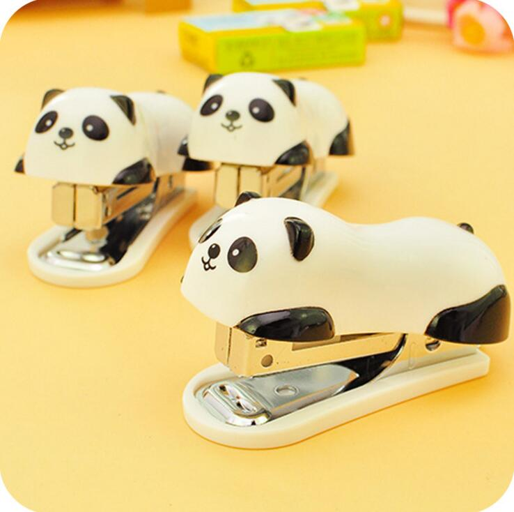 Kawaii Panda shaped Mini Stapler Cartoon Stapler Staple Set Capable of Genuine Office School Supplies Free Shipping(China (Mainland))