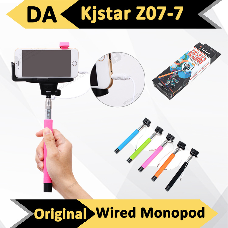 1pcs original kjstar z07 7 audio cable wired selfie stick extendable palo mon. Black Bedroom Furniture Sets. Home Design Ideas