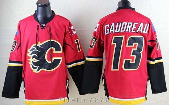 Calgary Flames #13 Johnny Gaudreau Jersey Red Home Embroidery 2015 New Mens Johnny Gaudreau Ice Hockey Jersey Shirt Hot Sale<br><br>Aliexpress