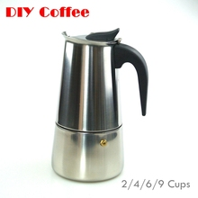 Espresso Coffee Pots cafeteiras inox 2/4/6/9 cups percolator stove top stainless steel Moka Coffee Maker in stock(China (Mainland))