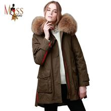 TOP quality new 2014 winter jacket coat women's parkas army green Large raccoon fur collar hooded woman outwear loose clothing