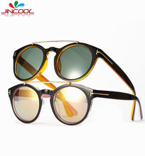 JinCool Fashion Tom Sunglass Men 2016 Vintage Round Sunglasses Women Brand Designer Steampunk Sun Glasses UV400 Oculos de sol