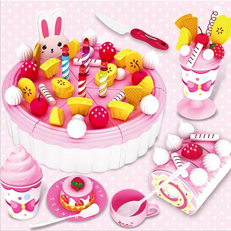 DIY Fruitcake 86pcs/set Cookware Set Fruit Birthday Cake Children Pretend Play Toys Kitchen Set Kids Toy Educational Assemblage(China (Mainland))