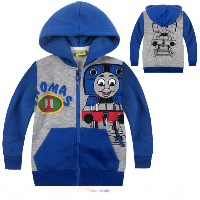 Thomas Cartoon Boys Hooded Sweater Coat  Children Spring Long Sleeved Cotton Outwear Clothing  For 2-7T Kids 013(China (Mainland))
